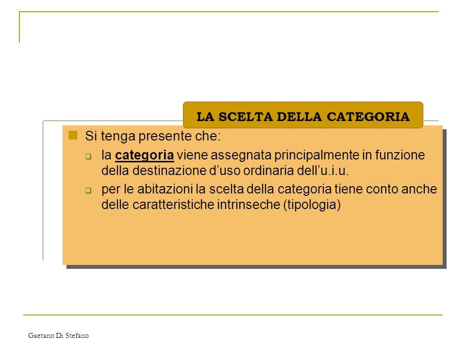 Gaetano Di Stefano Si tenga presente che: la categoria viene assegnata principalmente in funzione della destinazione duso ordinaria dellu.i.u. per le