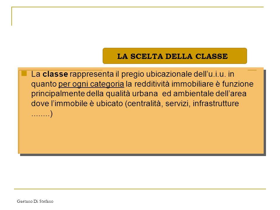 Gaetano Di Stefano La classe rappresenta il pregio ubicazionale dellu.i.u. in quanto per ogni categoria la redditività immobiliare è funzione principa