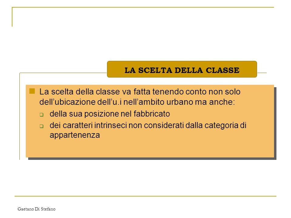 Gaetano Di Stefano La scelta della classe va fatta tenendo conto non solo dellubicazione dellu.i nellambito urbano ma anche: della sua posizione nel f