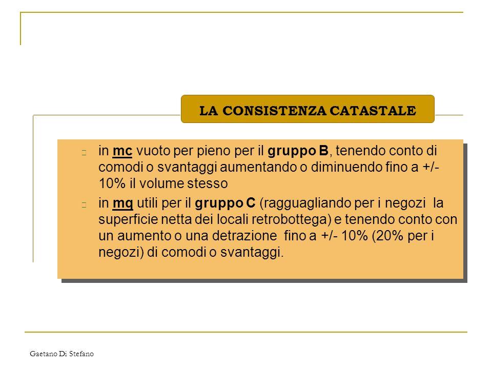Gaetano Di Stefano • in mc vuoto per pieno per il gruppo B, tenendo conto di comodi o svantaggi aumentando o diminuendo fino a +/- 10% il volume stess