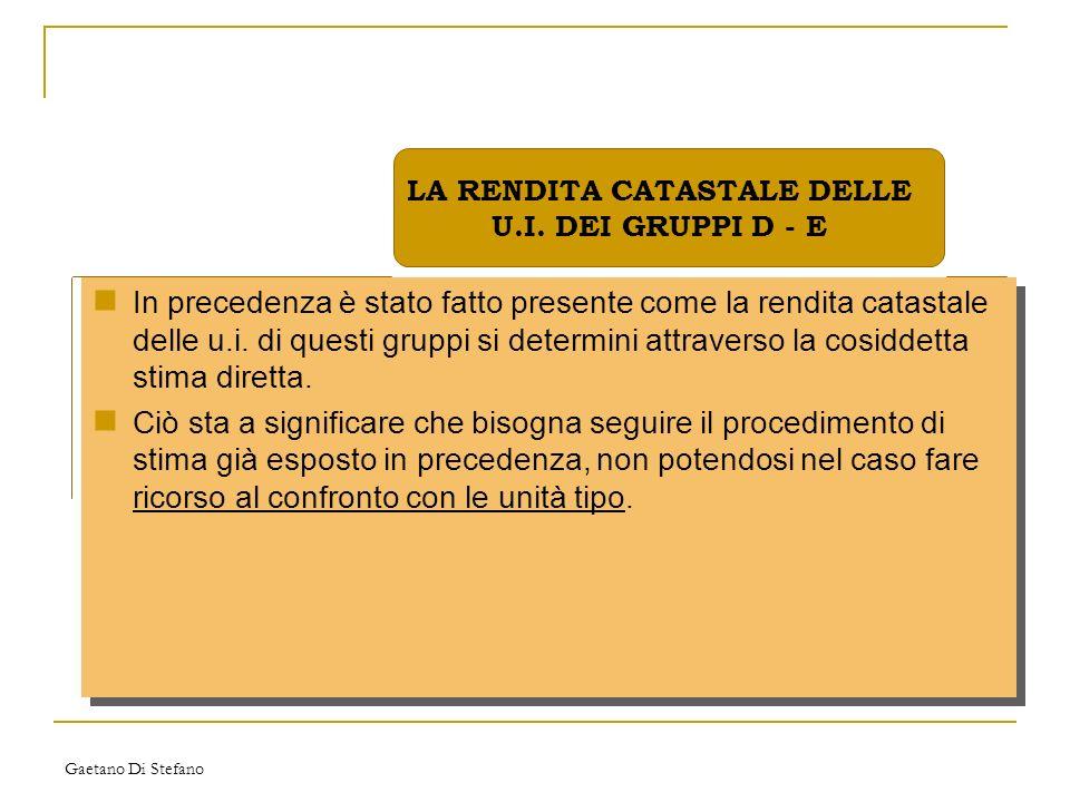 Gaetano Di Stefano In precedenza è stato fatto presente come la rendita catastale delle u.i. di questi gruppi si determini attraverso la cosiddetta st