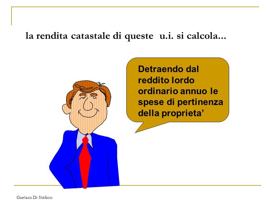 Gaetano Di Stefano la rendita catastale di queste u.i. si calcola... Detraendo dal reddito lordo ordinario annuo le spese di pertinenza della propriet