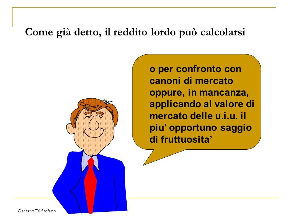 Gaetano Di Stefano Come già detto, il reddito lordo può calcolarsi o per confronto con canoni di mercato oppure, in mancanza, applicando al valore di