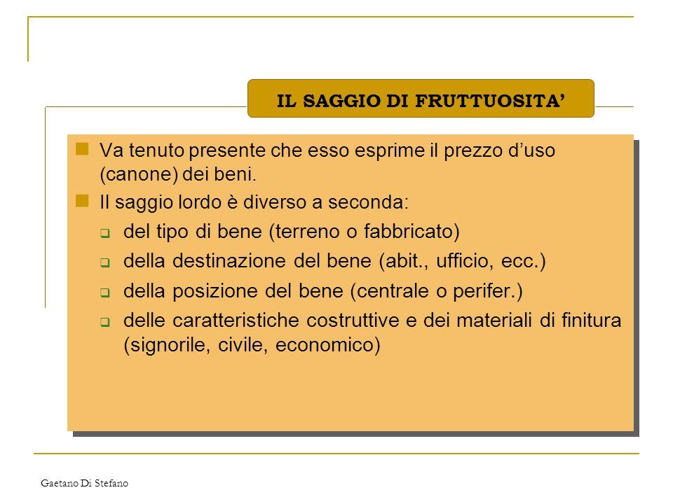 Gaetano Di Stefano Va tenuto presente che esso esprime il prezzo duso (canone) dei beni. Il saggio lordo è diverso a seconda: del tipo di bene (terren