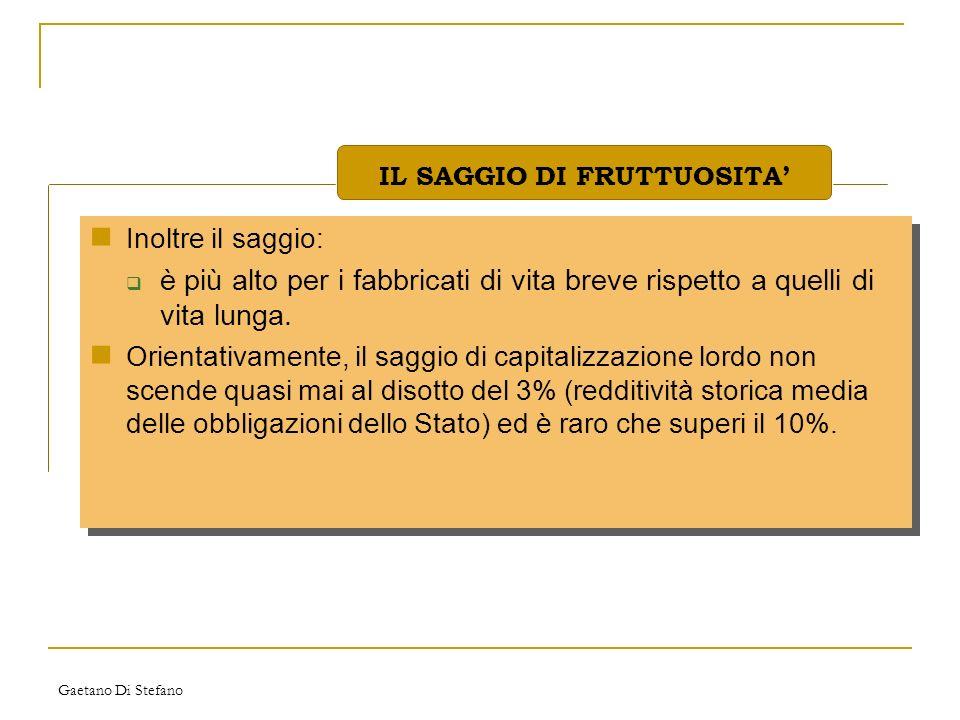 Gaetano Di Stefano Inoltre il saggio: è più alto per i fabbricati di vita breve rispetto a quelli di vita lunga. Orientativamente, il saggio di capita