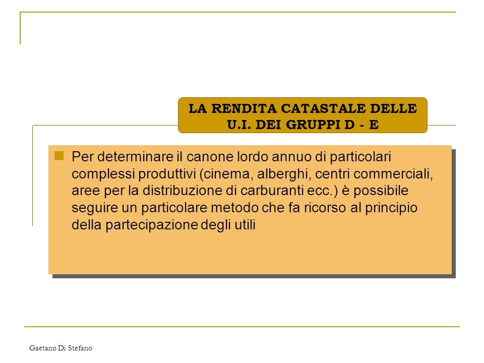 Gaetano Di Stefano Per determinare il canone lordo annuo di particolari complessi produttivi (cinema, alberghi, centri commerciali, aree per la distri