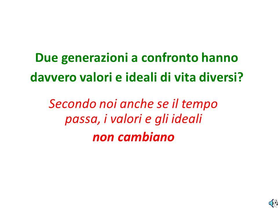 Due generazioni a confronto hanno davvero valori e ideali di vita diversi? Secondo noi anche se il tempo passa, i valori e gli ideali non cambiano