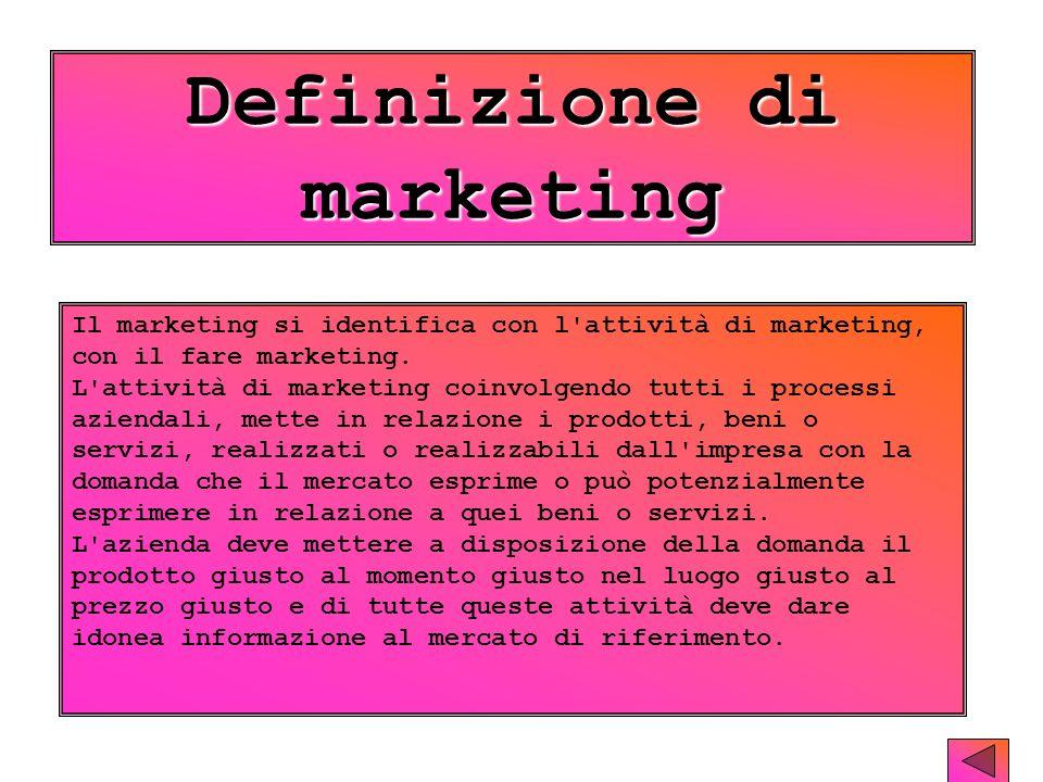 Definizione di marketing Il marketing si identifica con l attività di marketing, con il fare marketing.