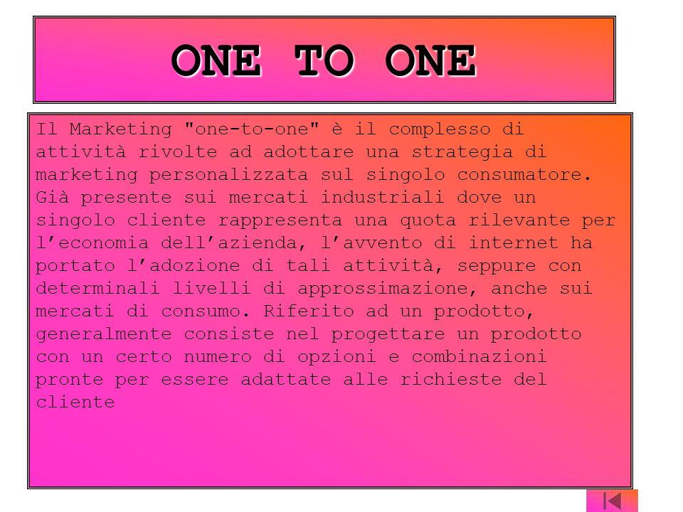 Il Marketing one-to-one è il complesso di attività rivolte ad adottare una strategia di marketing personalizzata sul singolo consumatore.