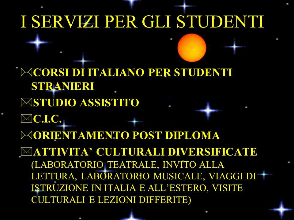 I SERVIZI PER GLI STUDENTI *CORSI DI ITALIANO PER STUDENTI STRANIERI *STUDIO ASSISTITO *C.I.C.