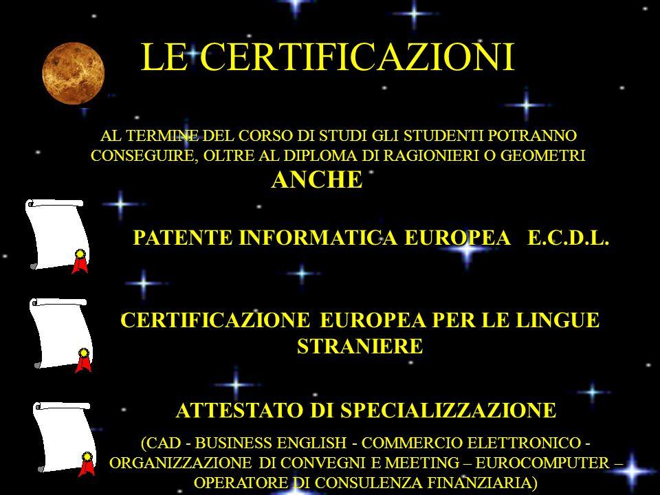 LE CERTIFICAZIONI PATENTE INFORMATICA EUROPEA E.C.D.L.