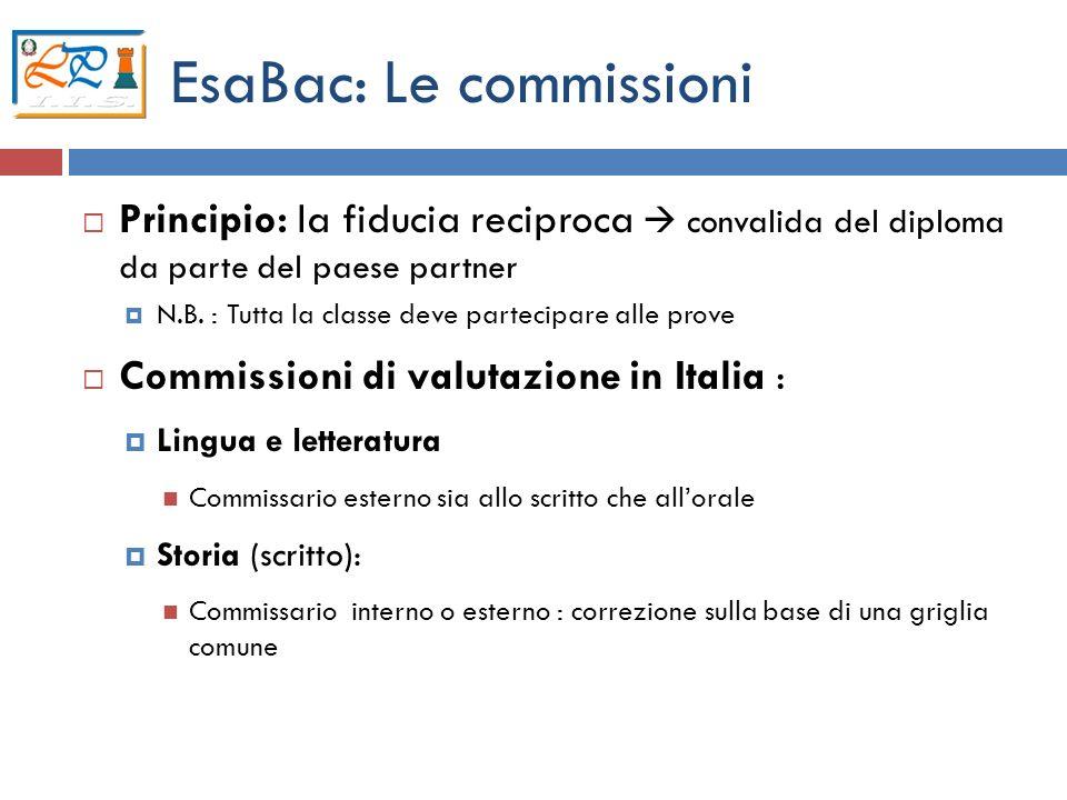 12 EsaBac: Le commissioni Principio: la fiducia reciproca convalida del diploma da parte del paese partner N.B. : Tutta la classe deve partecipare all