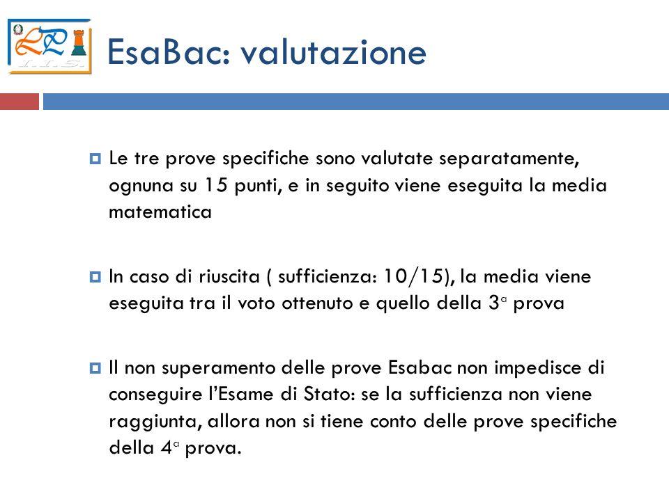 13 EsaBac: valutazione Le tre prove specifiche sono valutate separatamente, ognuna su 15 punti, e in seguito viene eseguita la media matematica In cas