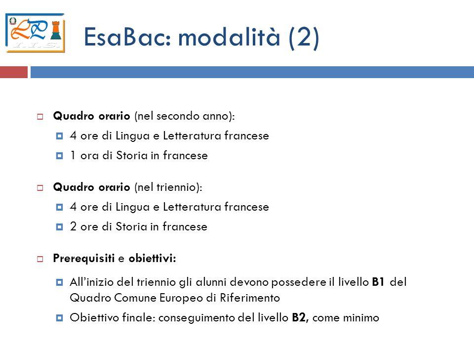 5 EsaBac: modalità (2) Quadro orario (nel secondo anno): 4 ore di Lingua e Letteratura francese 1 ora di Storia in francese Quadro orario (nel trienni