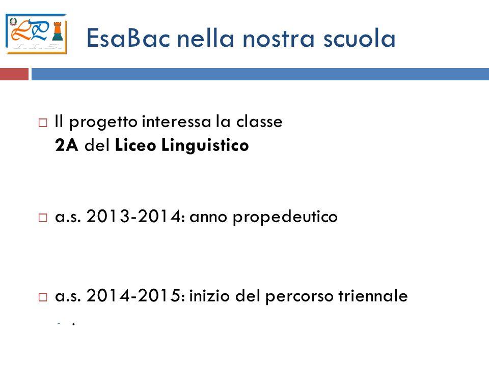 6 EsaBac nella nostra scuola Il progetto interessa la classe 2A del Liceo Linguistico a.s. 2013-2014: anno propedeutico a.s. 2014-2015: inizio del per
