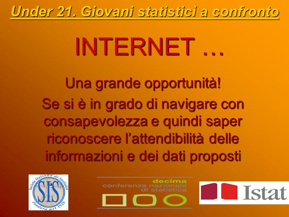 INTERNET … Under 21. Giovani statistici a confronto Una grande opportunità.