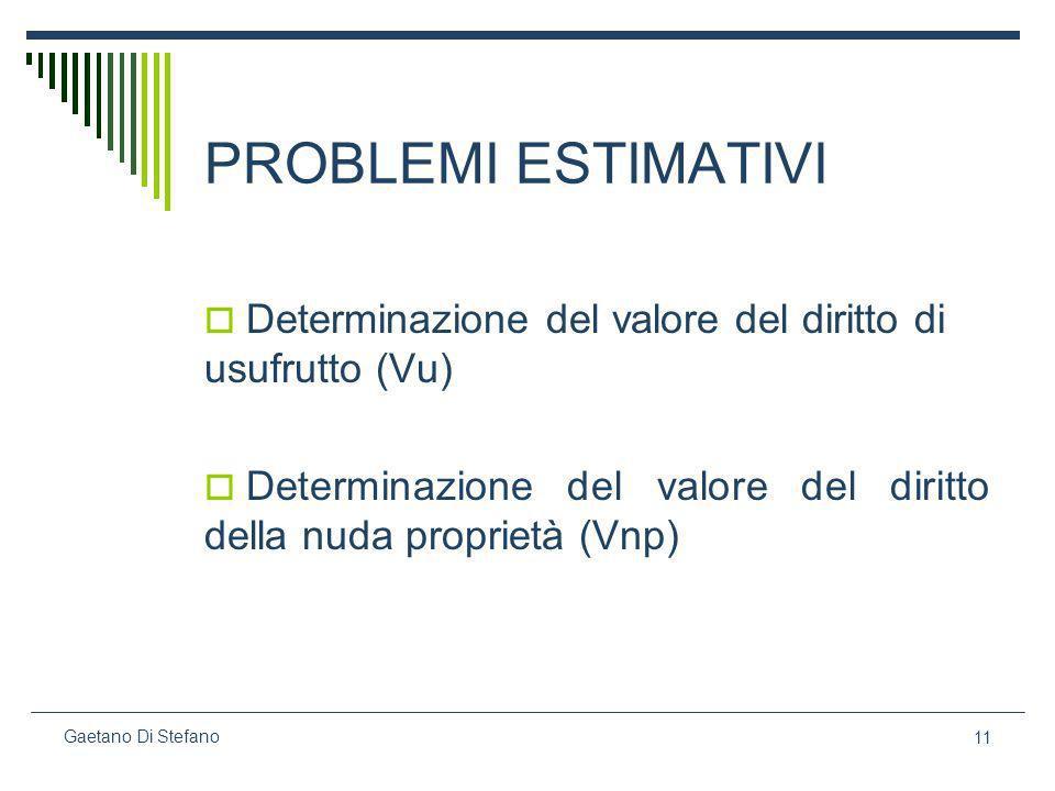11 Gaetano Di Stefano PROBLEMI ESTIMATIVI Determinazione del valore del diritto di usufrutto (Vu) Determinazione del valore del diritto della nuda pro