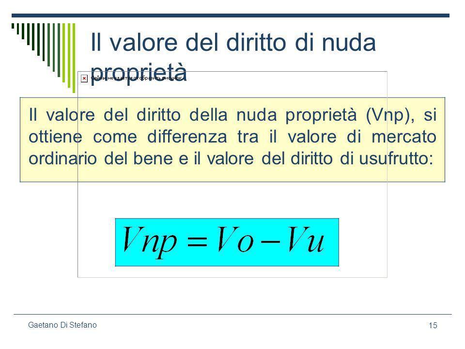 15 Gaetano Di Stefano Il valore del diritto di nuda proprietà Il valore del diritto della nuda proprietà (Vnp), si ottiene come differenza tra il valo