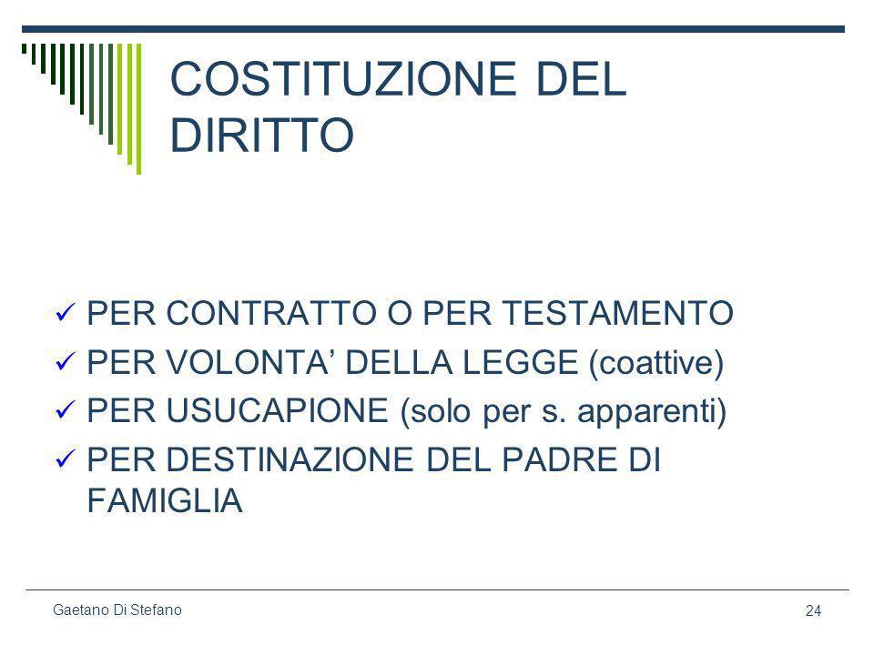 24 Gaetano Di Stefano COSTITUZIONE DEL DIRITTO PER CONTRATTO O PER TESTAMENTO PER VOLONTA DELLA LEGGE (coattive) PER USUCAPIONE (solo per s. apparenti