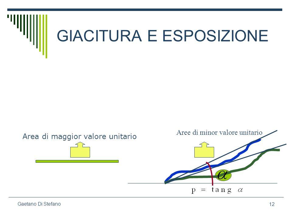 12 Gaetano Di Stefano GIACITURA E ESPOSIZIONE Aree di minor valore unitario Area di maggior valore unitario