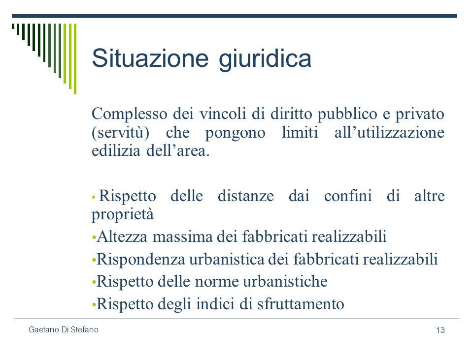 13 Gaetano Di Stefano Situazione giuridica Complesso dei vincoli di diritto pubblico e privato (servitù) che pongono limiti allutilizzazione edilizia