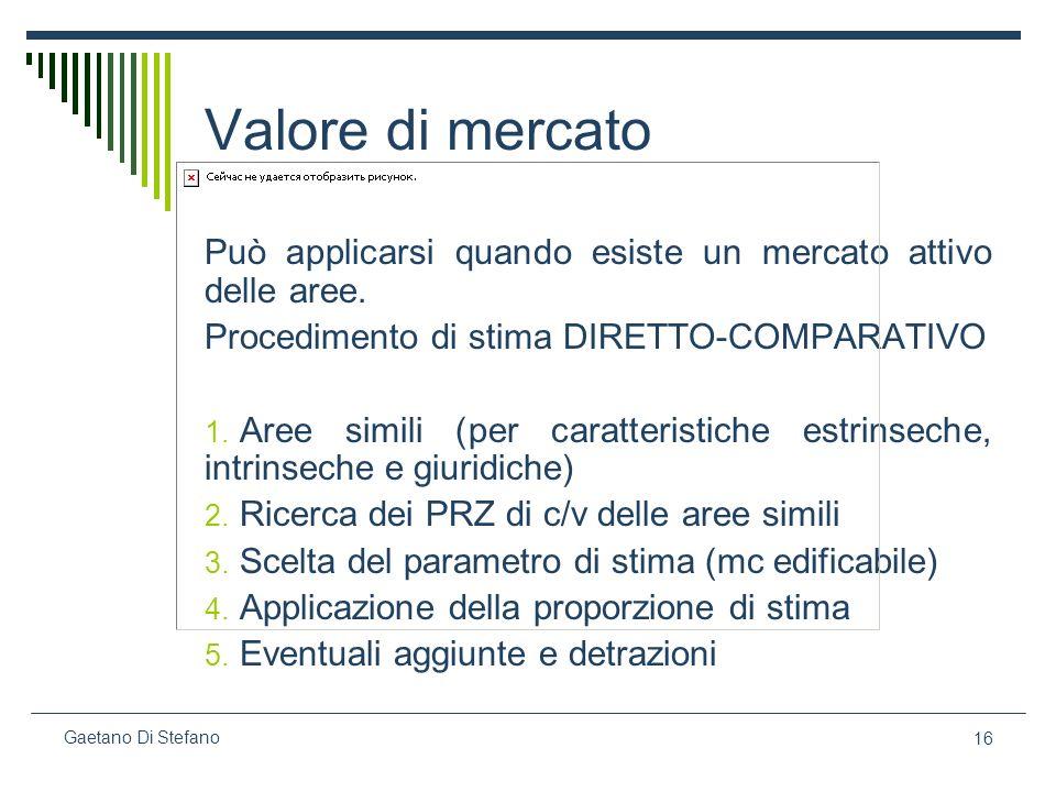16 Gaetano Di Stefano Valore di mercato Può applicarsi quando esiste un mercato attivo delle aree. Procedimento di stima DIRETTO-COMPARATIVO 1. Aree s