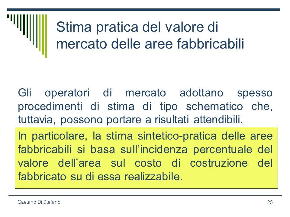 25 Gaetano Di Stefano Stima pratica del valore di mercato delle aree fabbricabili Gli operatori di mercato adottano spesso procedimenti di stima di ti