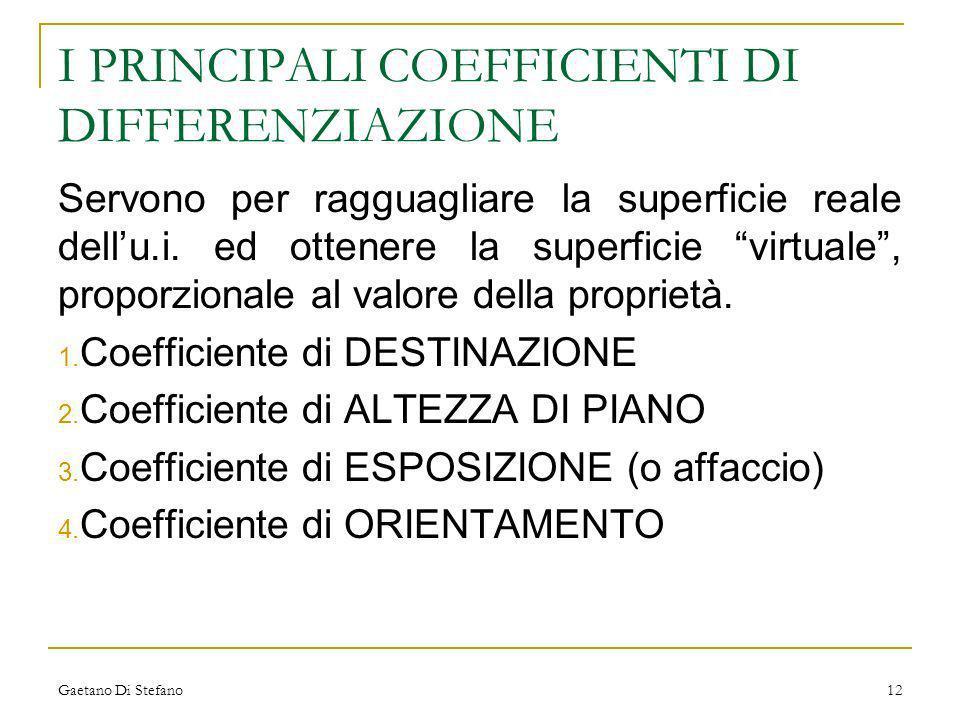 Gaetano Di Stefano12 I PRINCIPALI COEFFICIENTI DI DIFFERENZIAZIONE Servono per ragguagliare la superficie reale dellu.i. ed ottenere la superficie vir