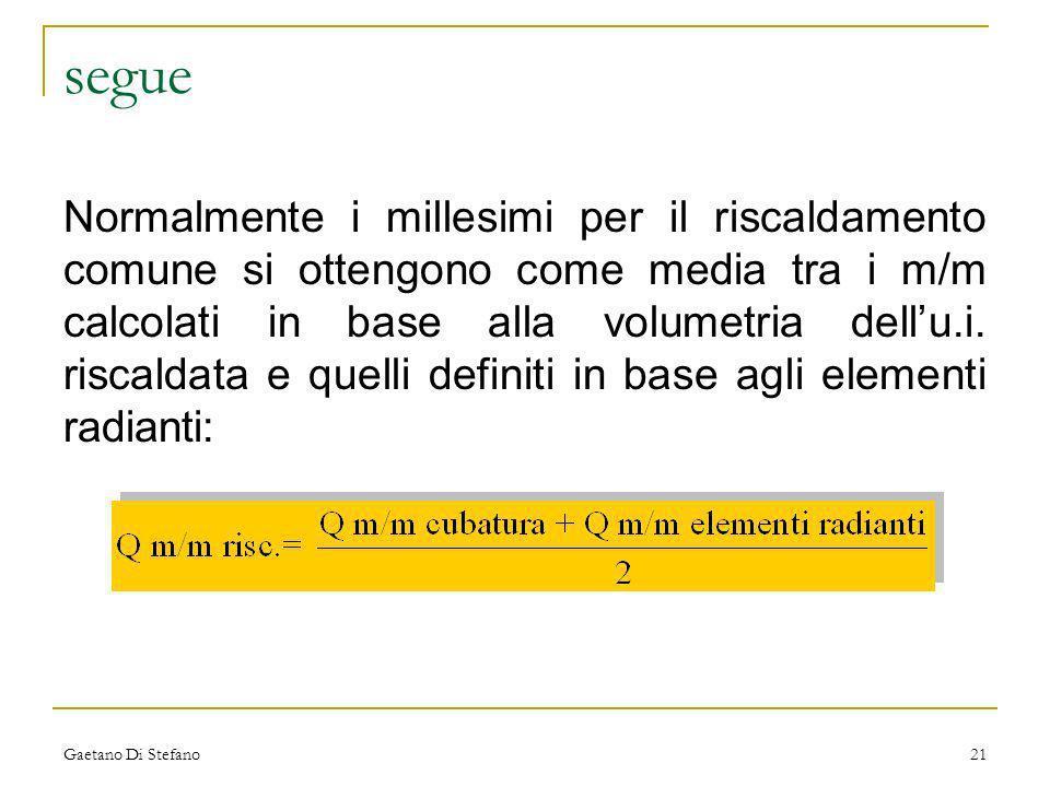 Gaetano Di Stefano21 segue Normalmente i millesimi per il riscaldamento comune si ottengono come media tra i m/m calcolati in base alla volumetria del