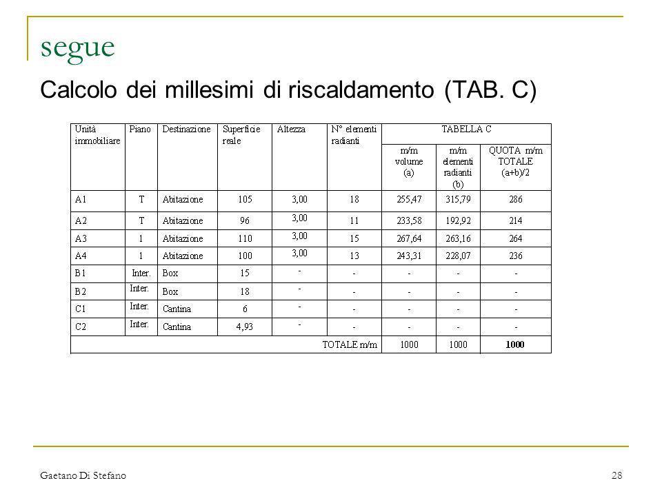 Gaetano Di Stefano28 segue Calcolo dei millesimi di riscaldamento (TAB. C)