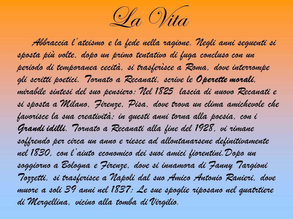 La Vita Giacomo Leopardi nasce a Recanati, un piccolo borgo delle Marche il 29 giugno 1798, dai conti Antici ; in quel luogo i grandi cambiamenti poli