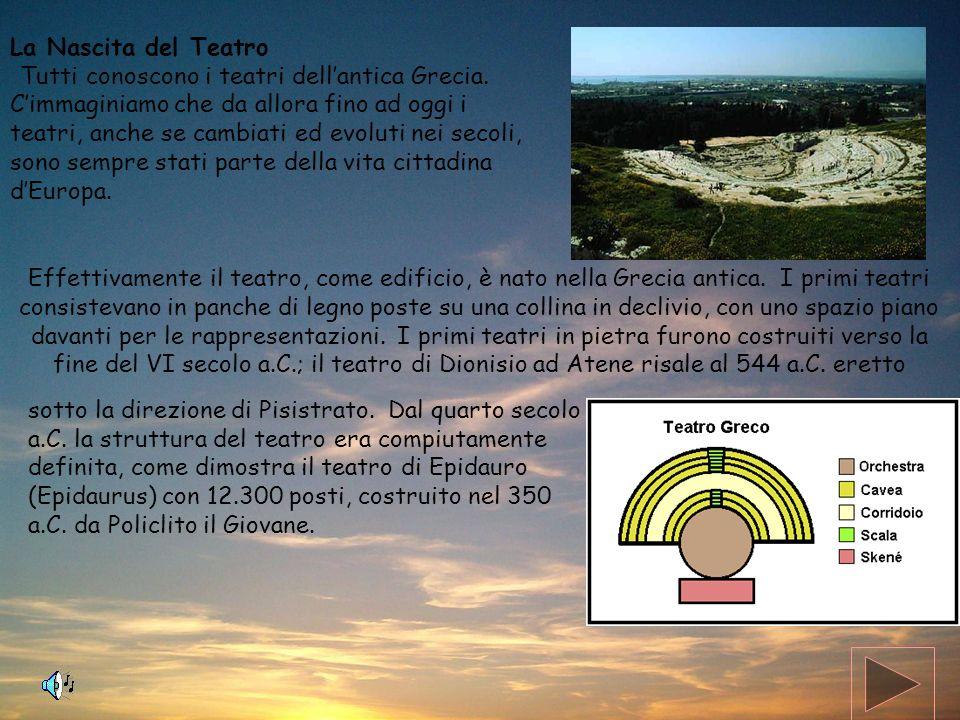 La Nascita del Teatro Tutti conoscono i teatri dellantica Grecia. Cimmaginiamo che da allora fino ad oggi i teatri, anche se cambiati ed evoluti nei s