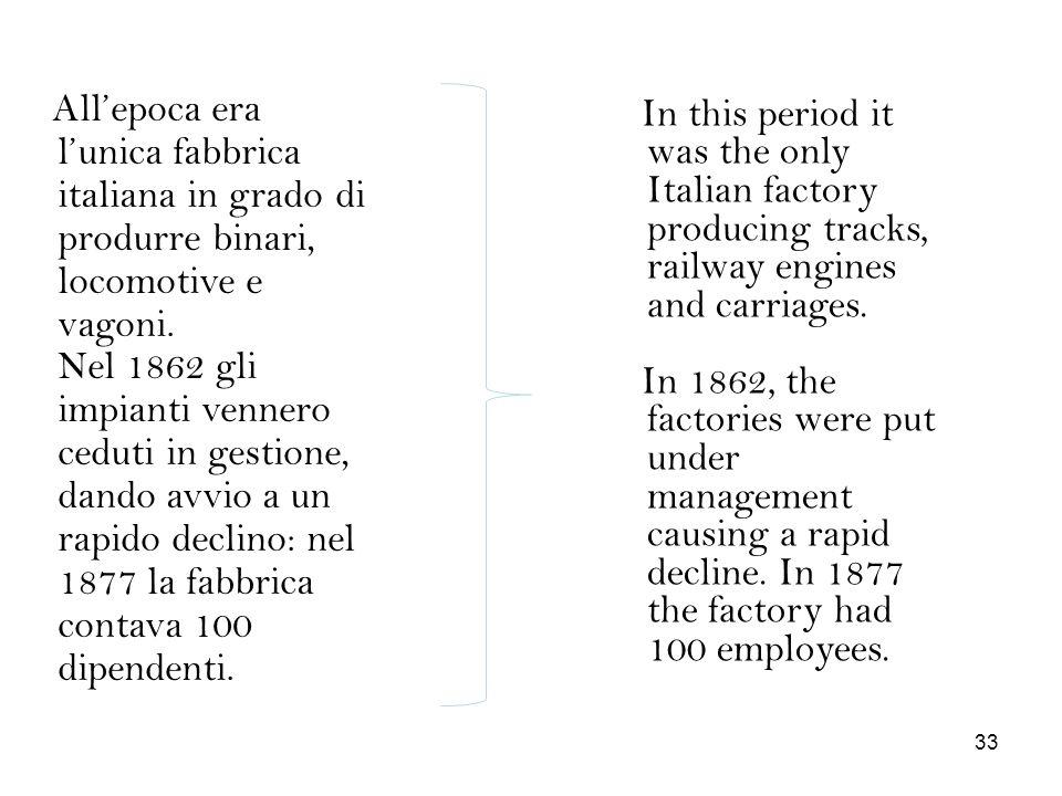 Allepoca era lunica fabbrica italiana in grado di produrre binari, locomotive e vagoni. Nel 1862 gli impianti vennero ceduti in gestione, dando avvio