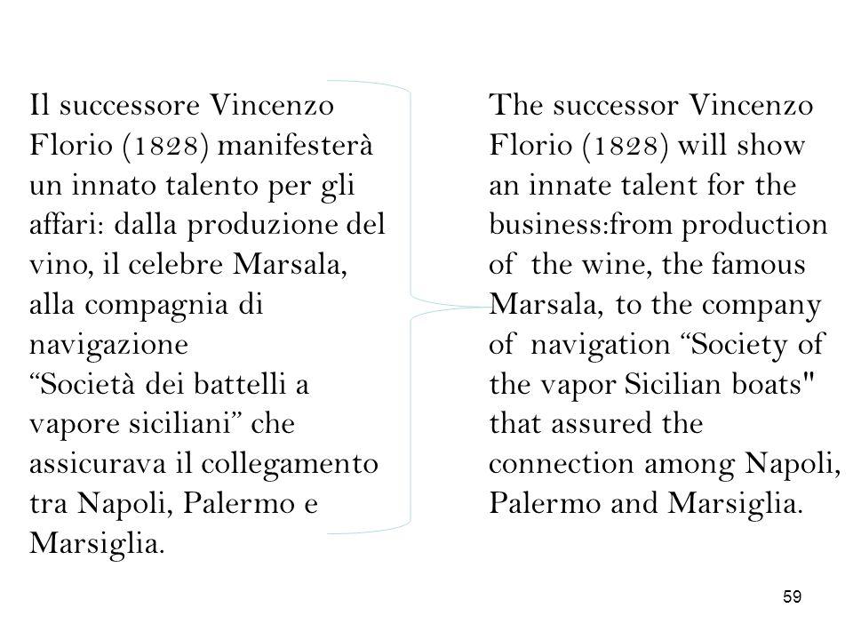 Il successore Vincenzo Florio (1828) manifesterà un innato talento per gli affari: dalla produzione del vino, il celebre Marsala, alla compagnia di na