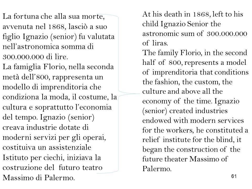 La fortuna che alla sua morte, avvenuta nel 1868, lasciò a suo figlio Ignazio (senior) fu valutata nellastronomica somma di 300.000.000 di lire. La fa