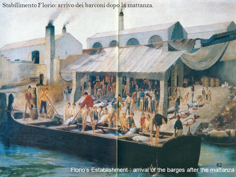 Stabilimento Florio: arrivo dei barconi dopo la mattanza. Florios Establishment : arrival of the barges after the mattanza 62