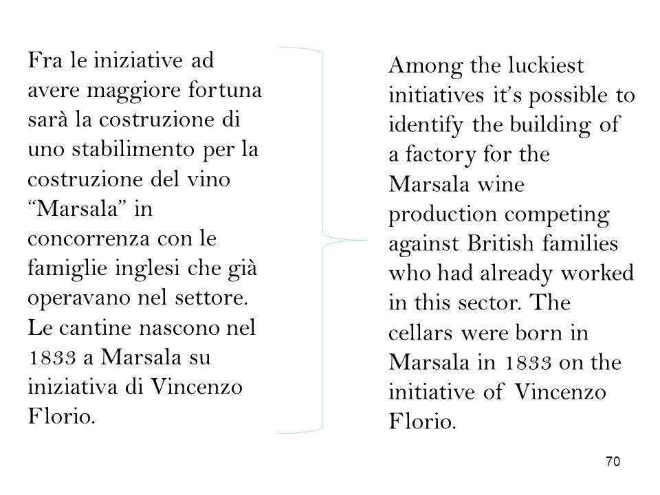 Fra le iniziative ad avere maggiore fortuna sarà la costruzione di uno stabilimento per la costruzione del vino Marsala in concorrenza con le famiglie