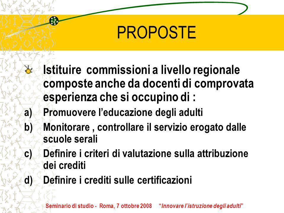 PROPOSTE Istituire commissioni a livello regionale composte anche da docenti di comprovata esperienza che si occupino di : a)Promuovere leducazione de