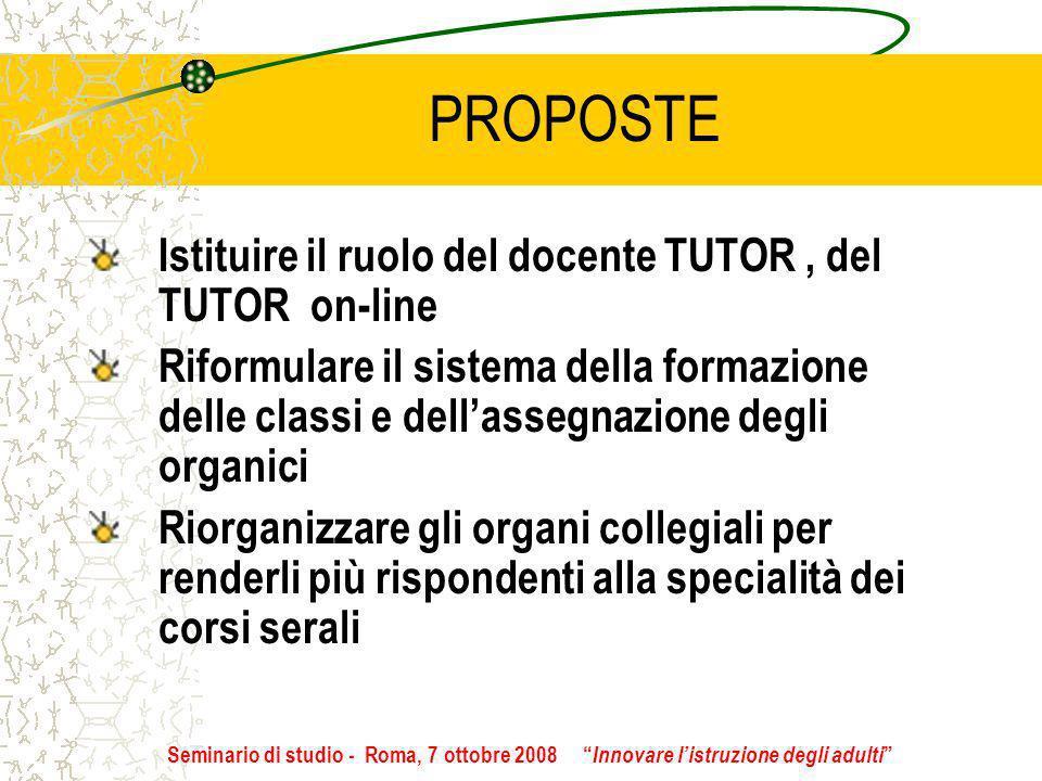 PROPOSTE Istituire il ruolo del docente TUTOR, del TUTOR on-line Riformulare il sistema della formazione delle classi e dellassegnazione degli organic