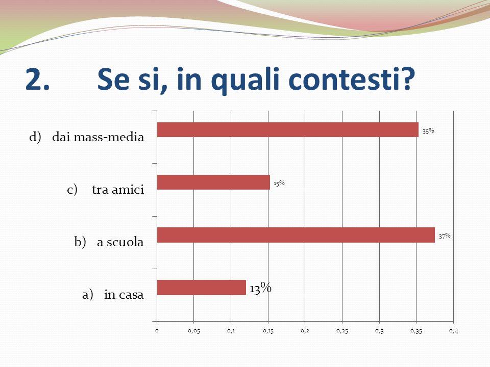3. Se hai risposto no alla prima domanda, intendi informarti in futuro sul problema?