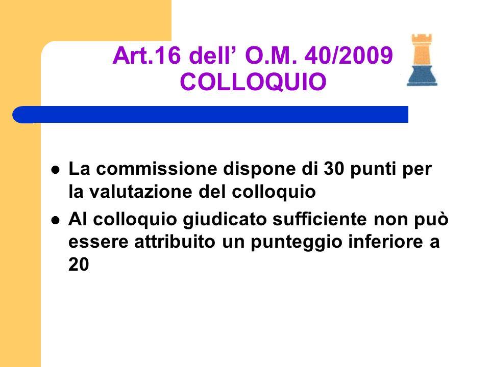 Art.16 dell O.M. 40/2009 COLLOQUIO La commissione dispone di 30 punti per la valutazione del colloquio Al colloquio giudicato sufficiente non può esse