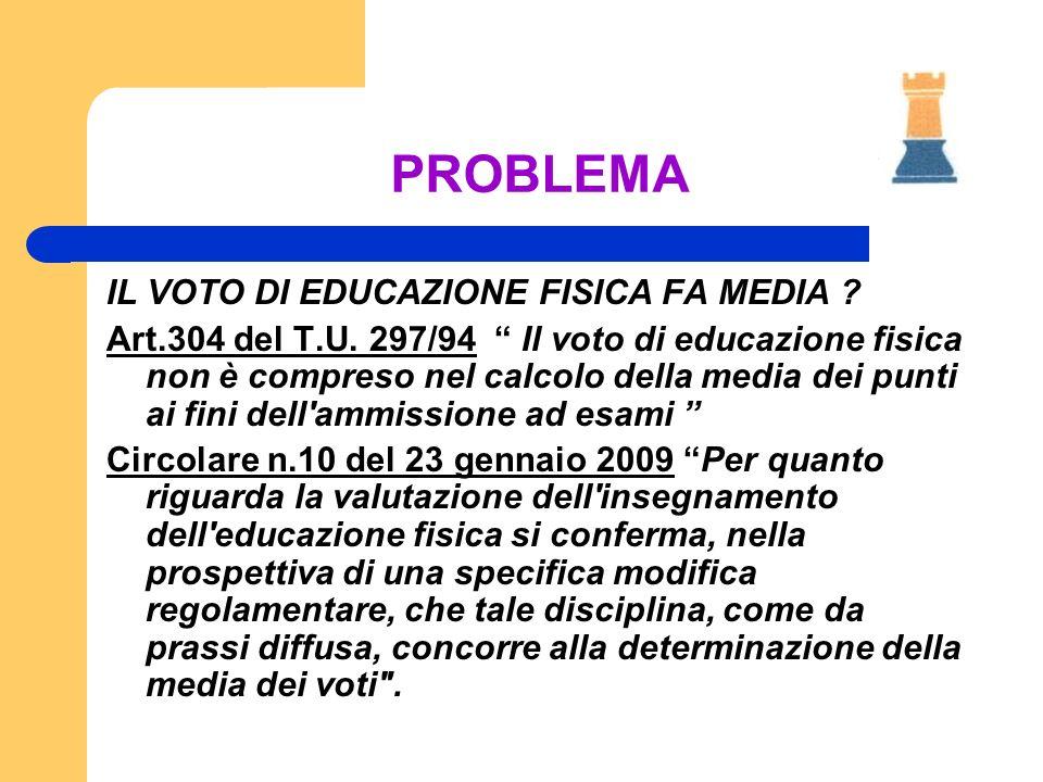 PROBLEMA IL VOTO DI EDUCAZIONE FISICA FA MEDIA ? Art.304 del T.U. 297/94 Il voto di educazione fisica non è compreso nel calcolo della media dei punti