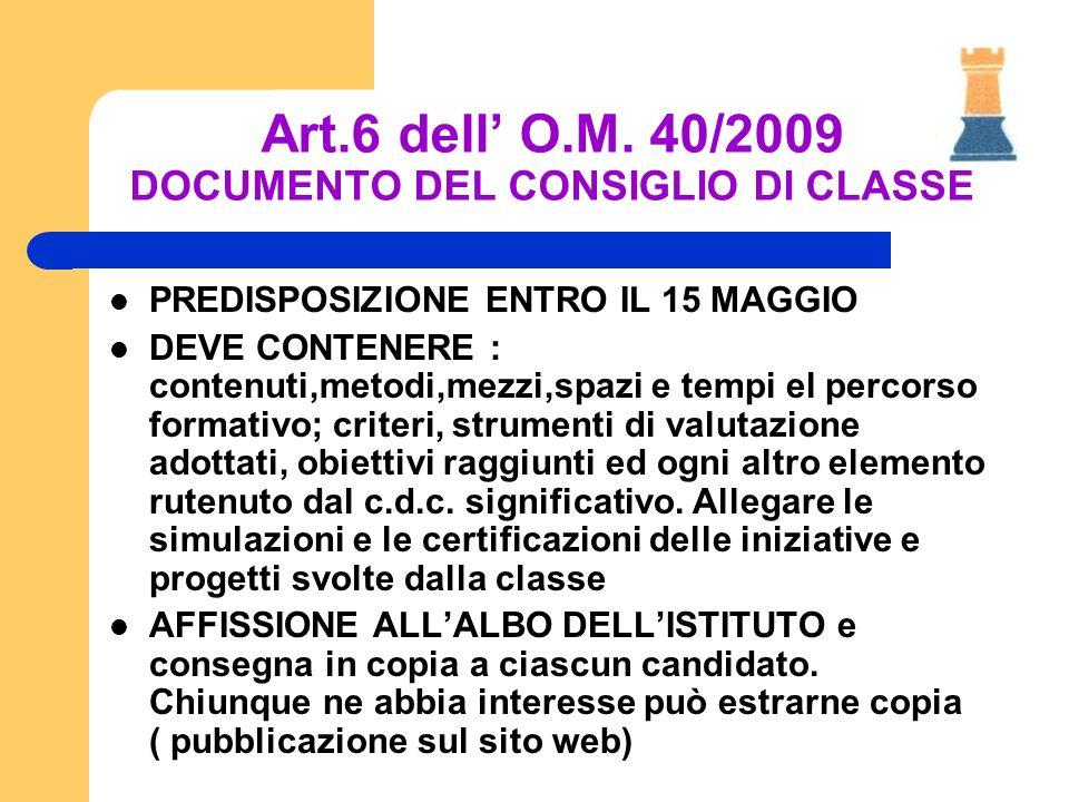 Art.6 dell O.M. 40/2009 DOCUMENTO DEL CONSIGLIO DI CLASSE PREDISPOSIZIONE ENTRO IL 15 MAGGIO DEVE CONTENERE : contenuti,metodi,mezzi,spazi e tempi el