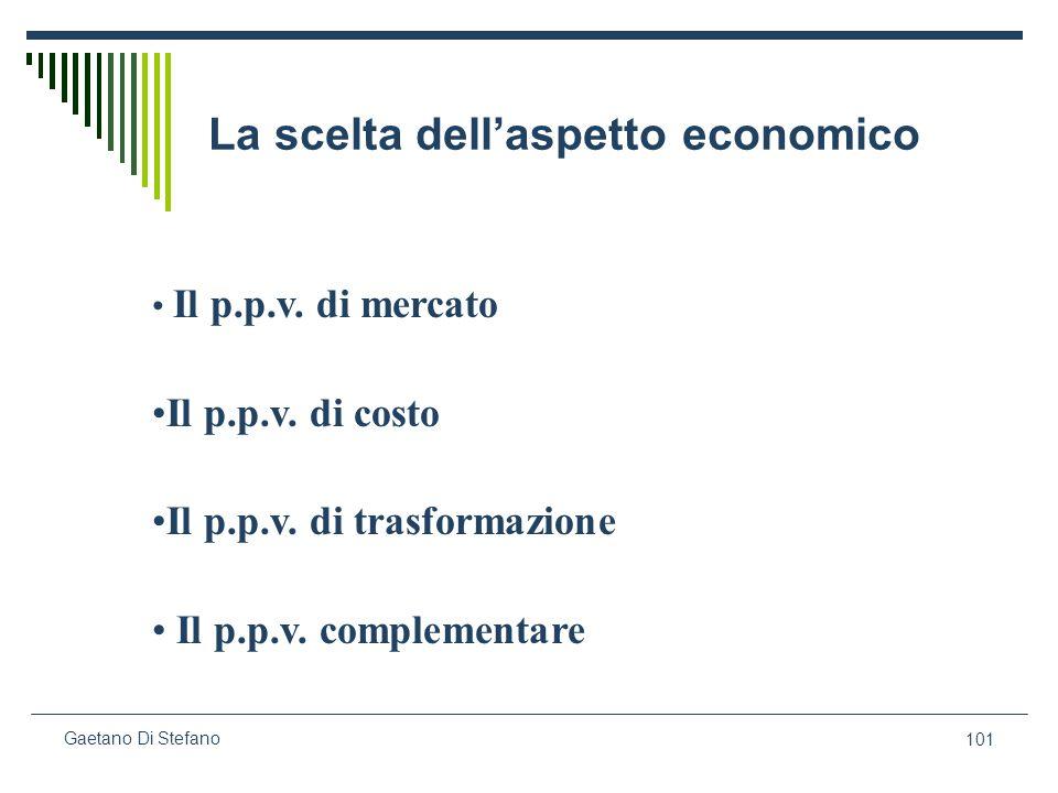 101 Gaetano Di Stefano La scelta dellaspetto economico Il p.p.v. di mercato Il p.p.v. di costo Il p.p.v. di trasformazione Il p.p.v. complementare