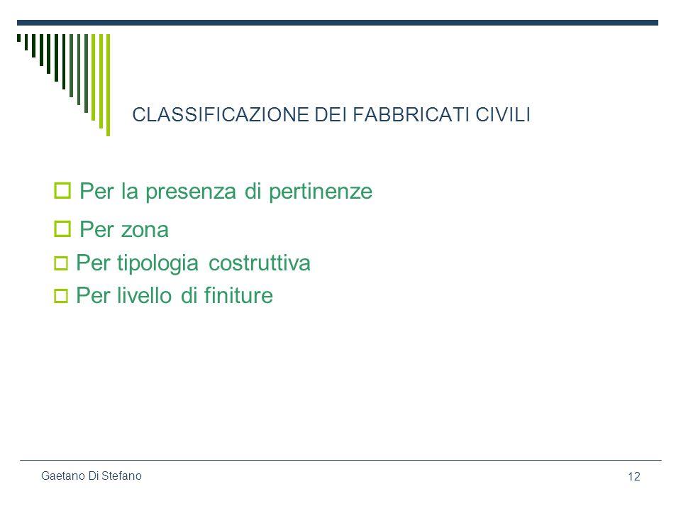 12 Gaetano Di Stefano CLASSIFICAZIONE DEI FABBRICATI CIVILI Per la presenza di pertinenze Per zona Per tipologia costruttiva Per livello di finiture