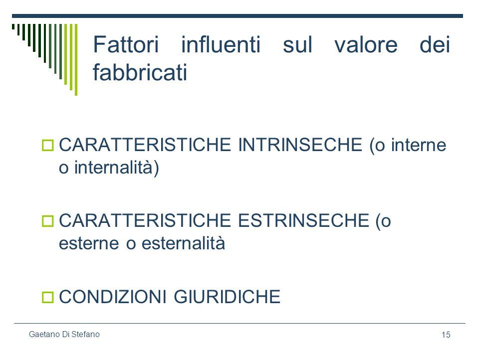15 Gaetano Di Stefano Fattori influenti sul valore dei fabbricati CARATTERISTICHE INTRINSECHE (o interne o internalità) CARATTERISTICHE ESTRINSECHE (o