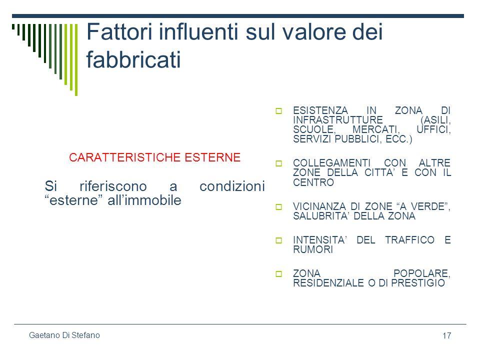 17 Gaetano Di Stefano Fattori influenti sul valore dei fabbricati CARATTERISTICHE ESTERNE Si riferiscono a condizioni esterne allimmobile ESISTENZA IN