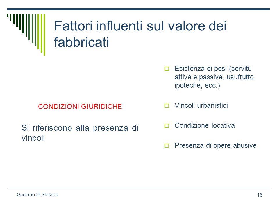 18 Gaetano Di Stefano Fattori influenti sul valore dei fabbricati CONDIZIONI GIURIDICHE Si riferiscono alla presenza di vincoli Esistenza di pesi (ser