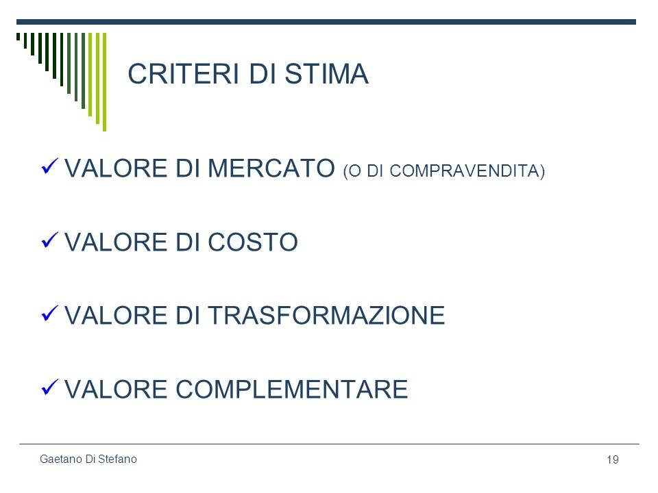 19 Gaetano Di Stefano CRITERI DI STIMA VALORE DI MERCATO (O DI COMPRAVENDITA) VALORE DI COSTO VALORE DI TRASFORMAZIONE VALORE COMPLEMENTARE