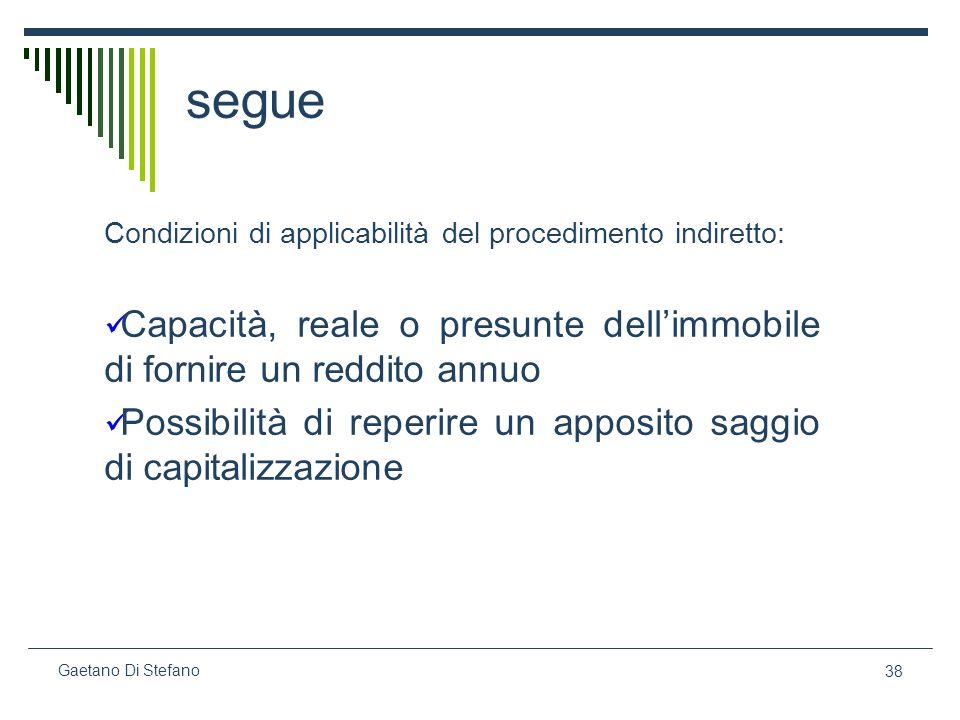 38 Gaetano Di Stefano segue Condizioni di applicabilità del procedimento indiretto: Capacità, reale o presunte dellimmobile di fornire un reddito annu